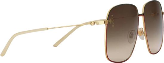 Gucci Gold And Orange Oversized Sunglasses