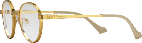 Gucci Gold Round Clear Lens Eye Glasses