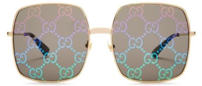 Gucci Gold Square Sunglasses With Logo Lenses