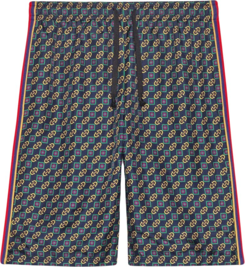 Gucci Green And Blue Bi Material Shorts