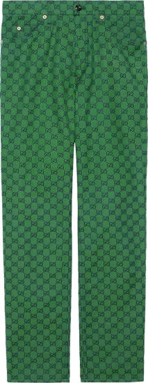 Gucci Green And Navy Gg Canvas Pants 623953zku093344