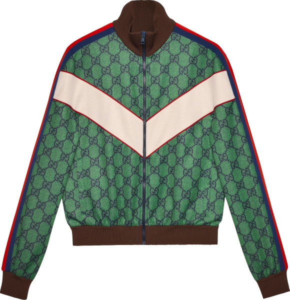 Gucci Green And Navy Gg Chevron Track Jacket 653367xjdf03305