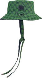 Gucci Green And Navy Gg Drawstring Bucket Hat