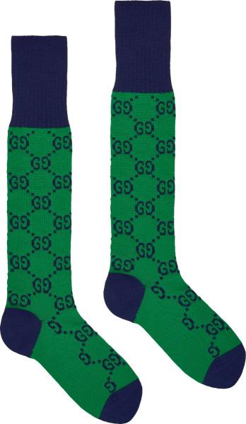 Gucci Green And Navy Gg Logo Socks 4710934g5923700