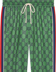 Gucci Green And Navy Gg Web Stripe Track Shorts