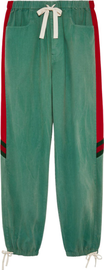 Gucci Green And Red Panel Jogging Pants