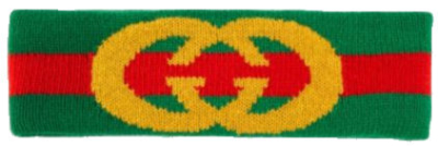 Gucci Green And Red Stripe Headband With Gold Logo Knit