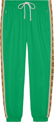 Gucci Green Beige Logo Stripe Jogging Pants