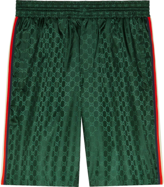 Gucci Green Gg And Side Striped Swim Shorts 599576xhadx3283