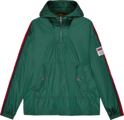 Gucci Green Nylon And Web Side Striped Anorak Jacket