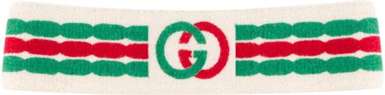 Gucci Green Red Interlocking G White Headband