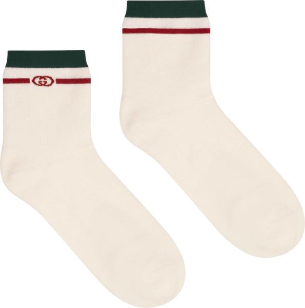 Gucci Green Red Striped White Socks 604040 4ga55 9266