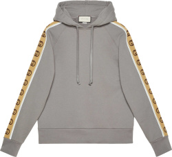Gucci Grey And Beige Gg Stripe Hoodie 596230 Xjbuw 1233