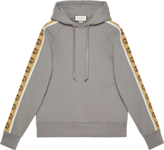Gucci Grey And Beige Gg Stripe Hoodie 596230 Xjbuw 1233