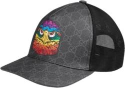 Gucci Grey And Black Gg Supreme Owl Print Hat