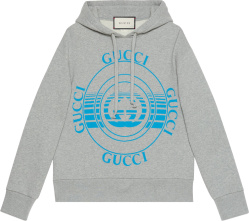 Gucci Grey And Blue Disk Logo Hoodie 475374xjcso1060