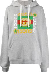 Gucci Grey Star Logo Print Hoodie