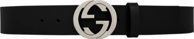Gucci Interlocking G Black Leather Belt