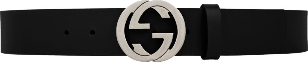 Gucci Interlocking G Black Leather Belt