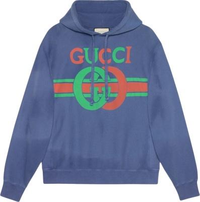 Gucci Interlocking G Print Blue Hoodie