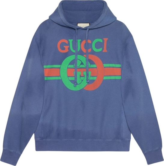 Gucci Interlocking G Print Blue Hoodie