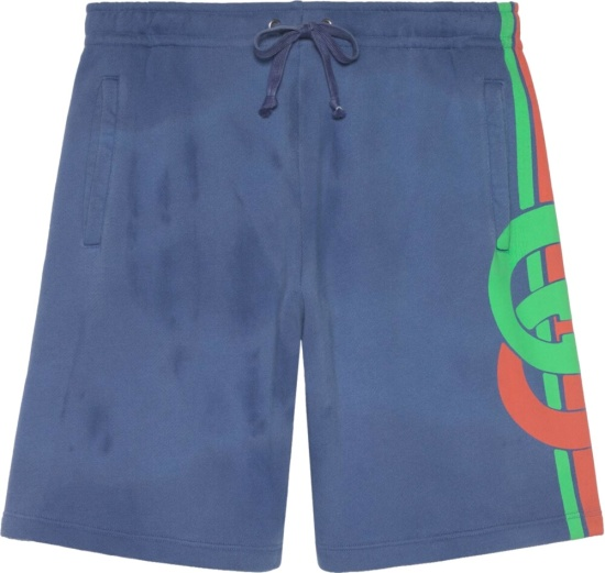 Gucci Interlocking G Print Blue Shorts