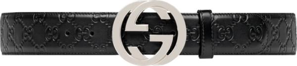 Gucci Interlocking Gg Embossed Black Leather Belt
