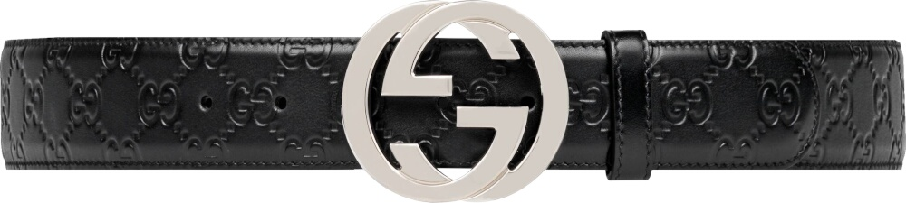 Gucci Interlocking Gg Embossed Black Leather Belt