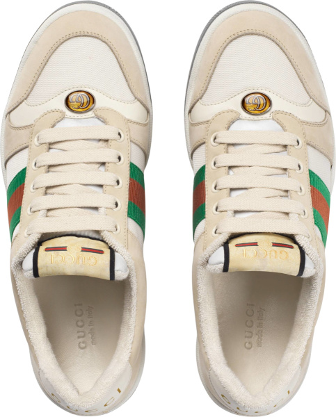 Gucci Ivory And Grey Screener Sneakers