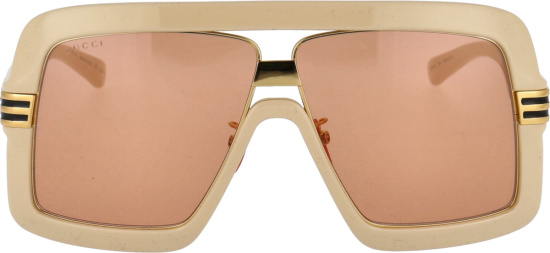 Gucci Ivory And Orange Acetate Oversized Square Sunglasses