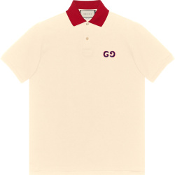 Gucci Ivory And Red Collar Polo Shirt