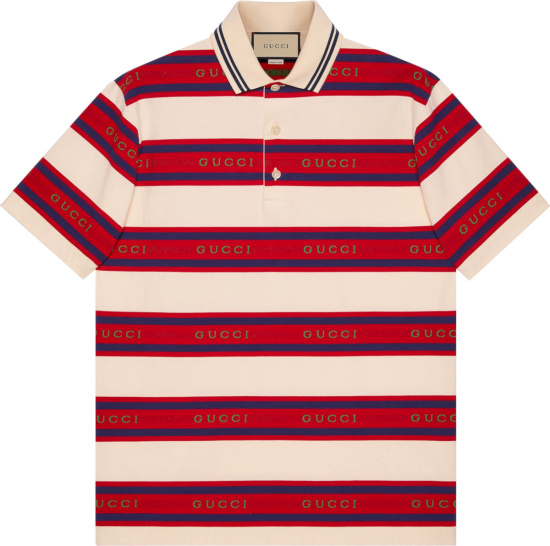 Gucci Ivory And Red Logo Stripe Polo