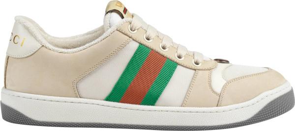 Gucci Ivory Grey Web Stripe Screener Sneakers