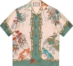Gucci Jousting Print Bowling Shirt