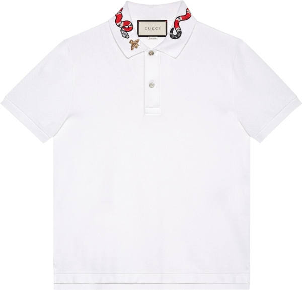 Gucci Kingsnake Embroidered White Polo Shirt