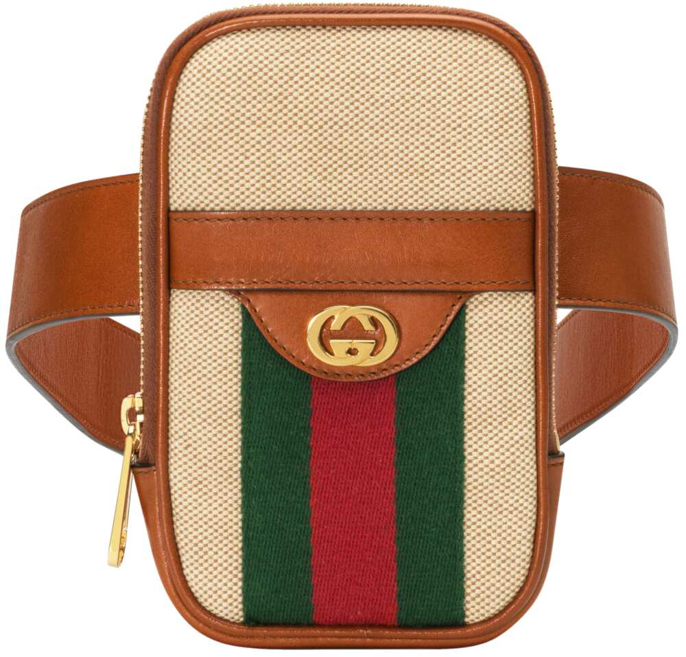 Gucci Leather Belt With Canvas Attached Phone Case