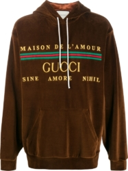 Gucci Logo Embroidered Brown Hoodie