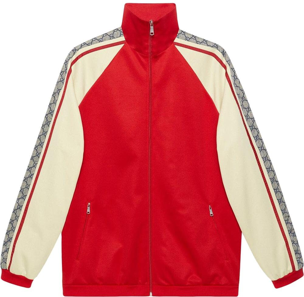 Gucci Logo Motif Stripe Red Track Jacket