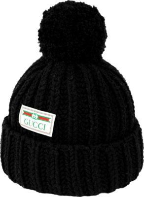 Gucci Logo Patch Black Knit Beanie