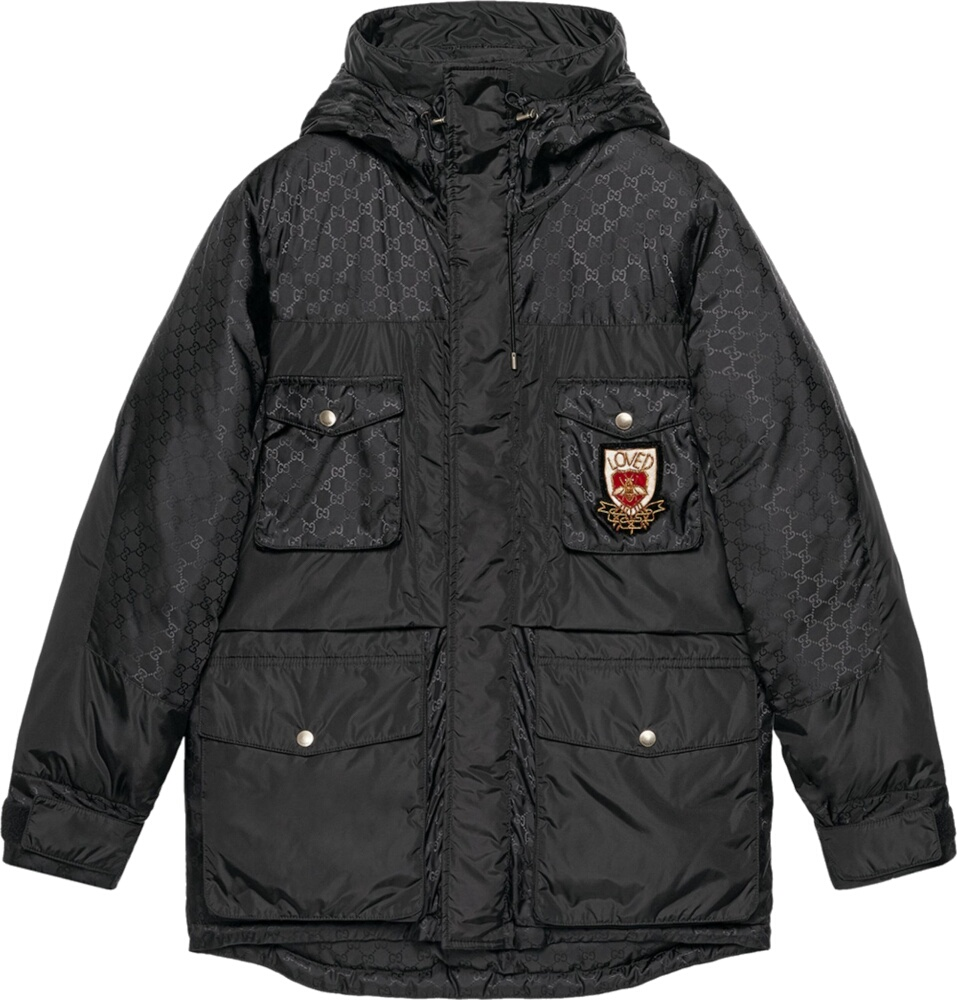 'Loved' Patch Black Down Jacket