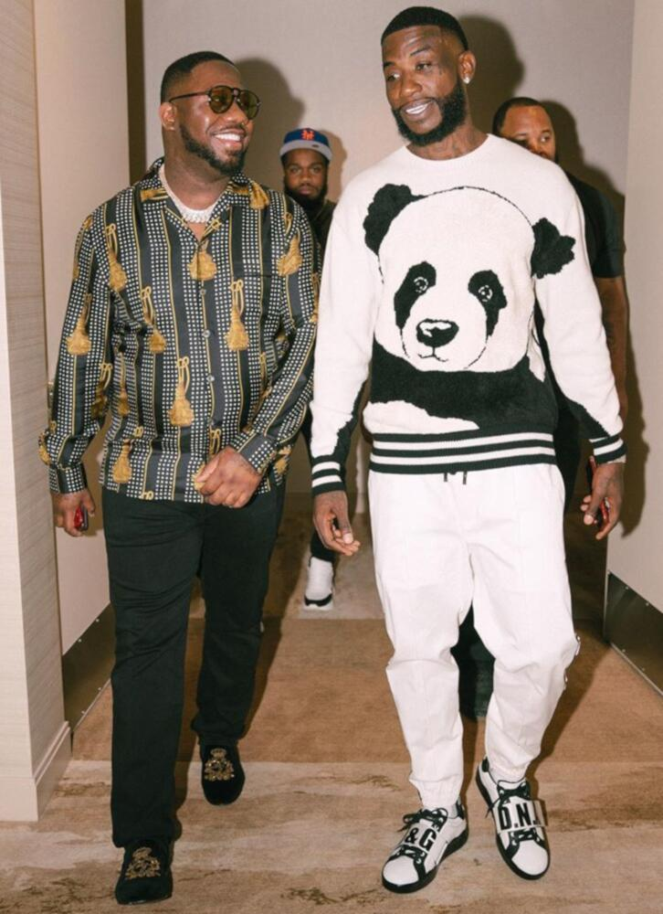 Gucci Mane Plays Poll In A Black And White Dolce And Gabbana Panda Sweater Dolce Sweatpants And Sneakers