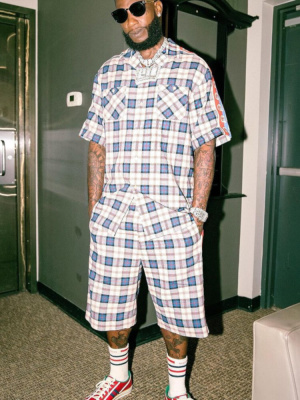 Gucci Mane Wearing A Gucci Blue White Check Shirt And Shorts With Red Low Top Tennis Sneakers