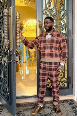 Gucci Mane Wearing A Gucci Brown Plaid Jacket And Pants With Christian Louboutin Satin Sneakers