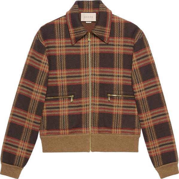 Gucci Men Brown Check Wool Jacket 633111 Xjcvf 2229