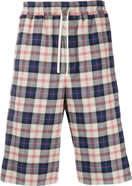 Gucci Men White And Blue Plaid Long Shorts