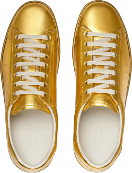 Gucci Metallic Gold Low Top Ace Sneakers