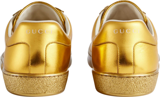 Gucci Metallic Gold Low Top Perfoated Gg Ace Sneakers