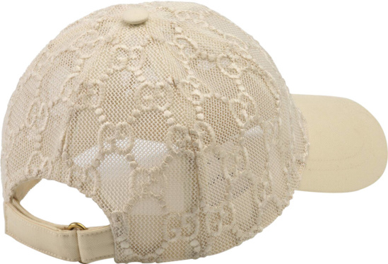 Gucci Monogram Embroidered White Mesh Hat