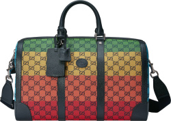 Gucci Multicolor Gg Canvas And Black Leather Trim Duffle Bag