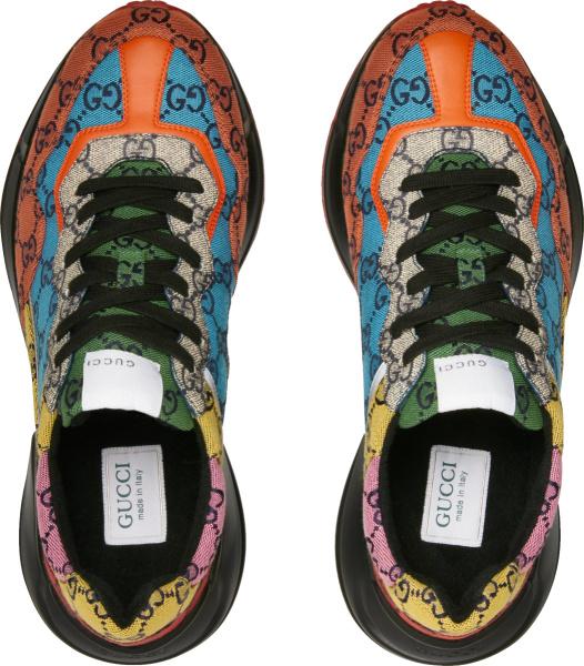 Gucci Multicolor Gg Canvas Ss21 Rhyton Sneakers